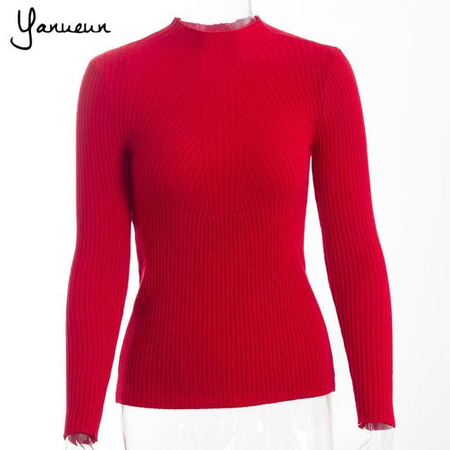 Yanueun Korean Fashion Women Pullovers Turtleneck Knit Shirt Long Sleeve Stretched Solid Sweater red / One Size