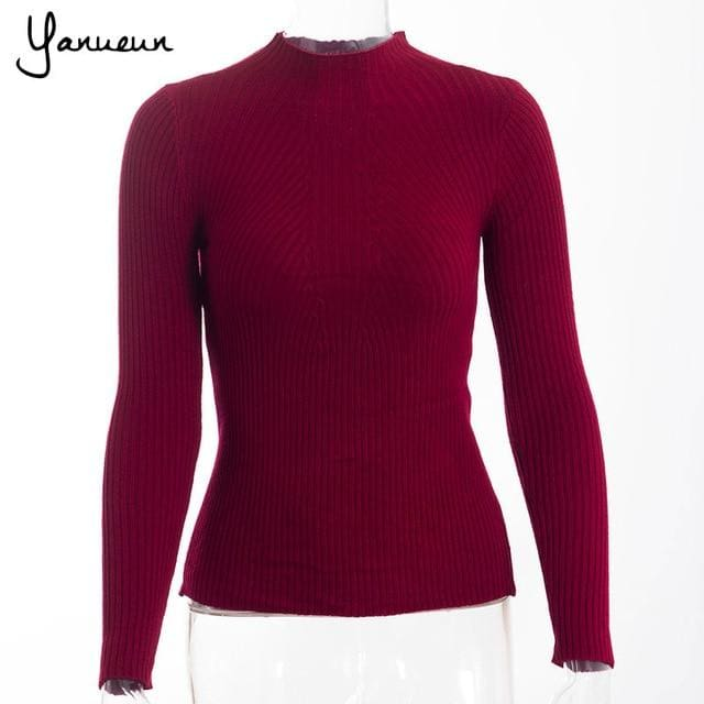 Yanueun Korean Fashion Women Pullovers Turtleneck Knit Shirt Long Sleeve Stretched Solid Sweater Wine Red / One Size