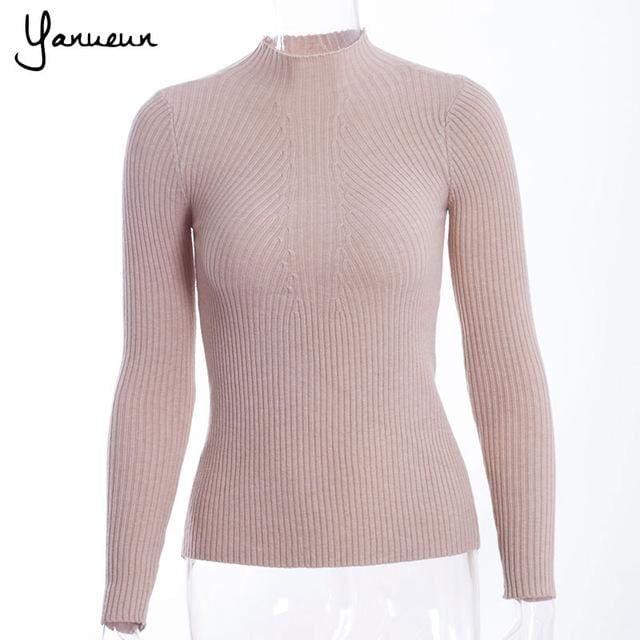 Yanueun Korean Fashion Women Pullovers Turtleneck Knit Shirt Long Sleeve Stretched Solid Sweater khaki / One Size
