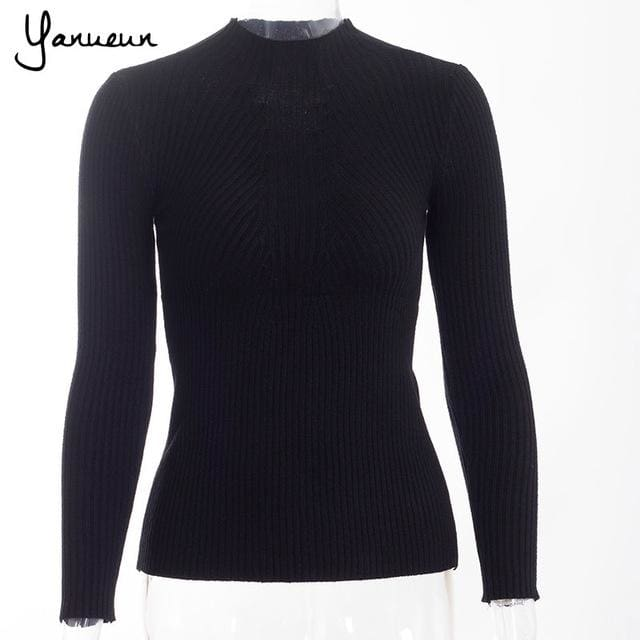 Yanueun Korean Fashion Women Pullovers Turtleneck Knit Shirt Long Sleeve Stretched Solid Sweater Black / One Size