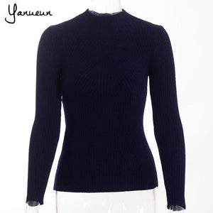 Yanueun Korean Fashion Women Pullovers Turtleneck Knit Shirt Long Sleeve Stretched Solid Sweater Navy Blue / One Size