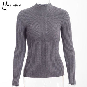 Yanueun Korean Fashion Women Pullovers Turtleneck Knit Shirt Long Sleeve Stretched Solid Sweater dark grey / One Size