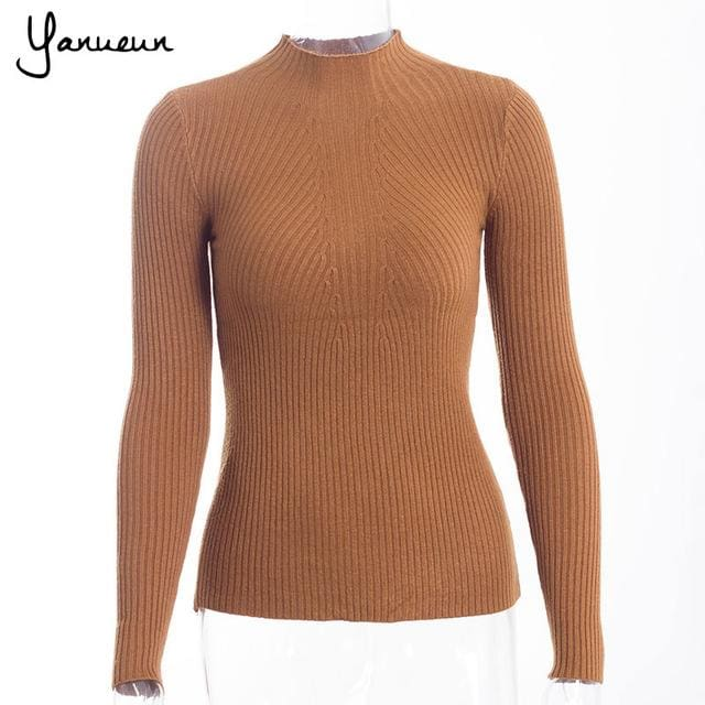 Yanueun Korean Fashion Women Pullovers Turtleneck Knit Shirt Long Sleeve Stretched Solid Sweater Tu Huang / One Size