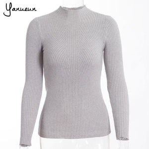 Yanueun Korean Fashion Women Pullovers Turtleneck Knit Shirt Long Sleeve Stretched Solid Sweater light grey / One Size