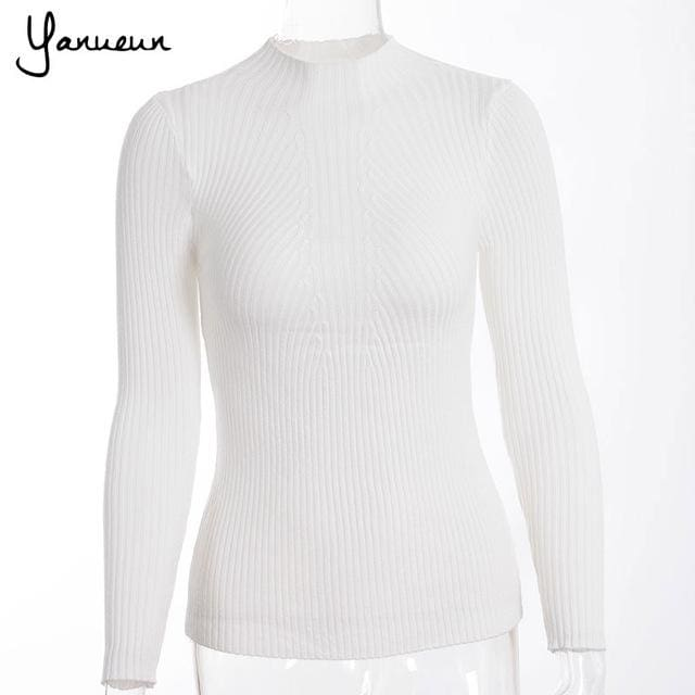 Yanueun Korean Fashion Women Pullovers Turtleneck Knit Shirt Long Sleeve Stretched Solid Sweater White / One Size