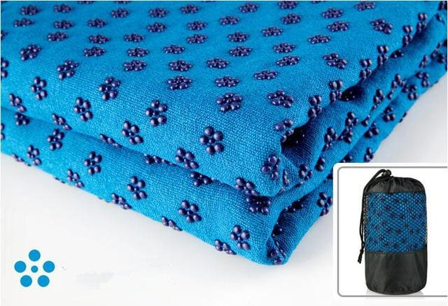 Yoga Blankets Anti Slip Soft Travel Sport Fitness Exercise Yoga Pilates Mat Cover Towel Blanket Blue