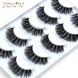 YOKPN 5 pairs Handmade Cotton Stalk Water Mink False Eyelashes Cross Messy Dense Natural Eye Lashes