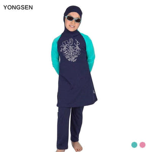 Yongsen Islamic Girls Muslim Swimwear Full Coverage Modest Muslim Swimwear Arab Beach Wear Plus