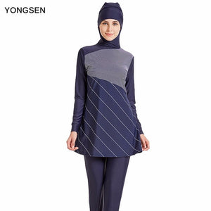 YONGSEN Modest Muslim Swimwear Hijab Muslimah Women Plus Size Islamic Swim Wear Short-sleeved - MBMCITY