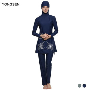 Yongsen Muslim Swimwear Women Islamic Full Cover Floral Swim Suits Women Girls Muslim Female