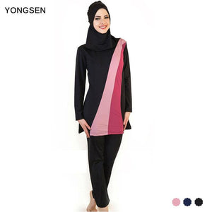 YONGSEN Muslim Women Spa Swimwear Islamic Swimsuit Full Face Hijab Swimming Beachwear Swimsuit Sport.