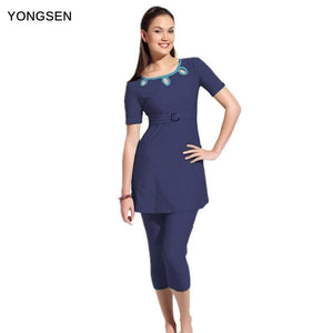 YONGSEN New Islamic Swimsuit Muslim Swimwear Hijab Female  Fiwmsuit for Women Bathing suit Plus Size.
