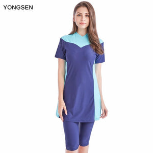 YONGSEN Women Plus Size Modest Muslim Swimwear Short-sleeved Burkinis Hijab Muslimah Islamic.