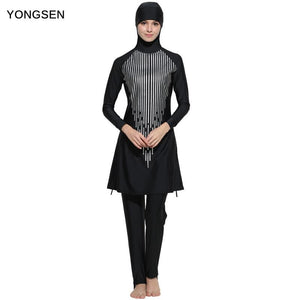 YONGSEN Women Printed Floral Modest Muslim Swimwear Hijab Muslimah Islamic Swimsuit Sport Clothing.