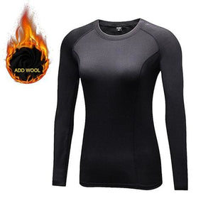 Yuerlian Hot Women Fitness Tight Female T-Shirt Dry Fit Training Blouse Sport Suit Running Add Wool 5021 Black / L