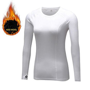Yuerlian Hot Women Fitness Tight Female T-Shirt Dry Fit Training Blouse Sport Suit Running Add Wool 5021 White / L