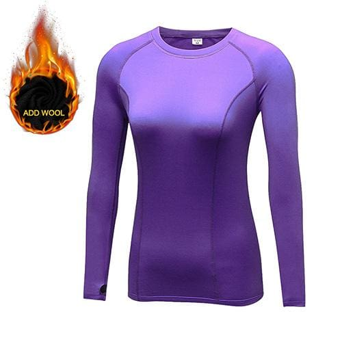 Yuerlian Hot Women Fitness Tight Female T-Shirt Dry Fit Training Blouse Sport Suit Running Add Wool 5021 Purple / L
