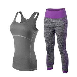 yuerlian Ladies Sports Running Cropped Top 3/4 Leggings Yoga Gym Trainning Set Clothing workout