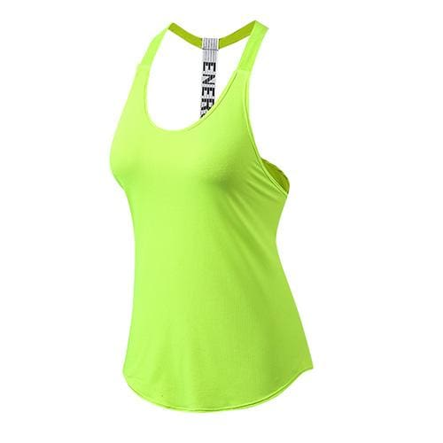 Yuerlian New Breathable Backless Yoga Vest Solid Quick Drying Running Gym Sport Yoga Shirt Women Green / S
