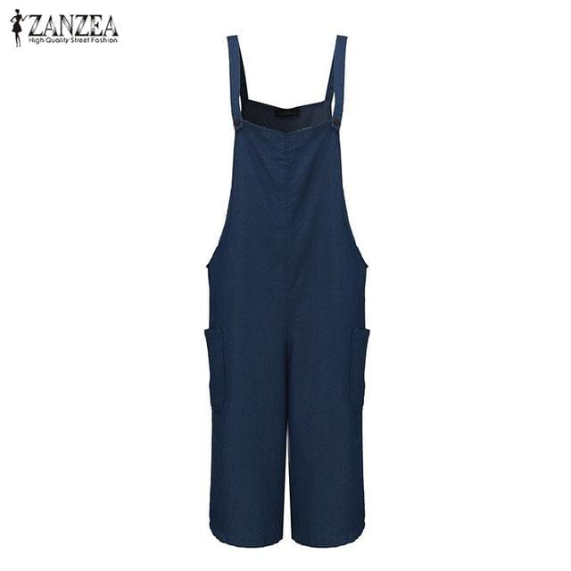 Zanzea Womens Jumpsuits 2017 Sleeveless Adjustable Strap Pockets Button Wide Leg Denim Blue Retro Denim Blue / S