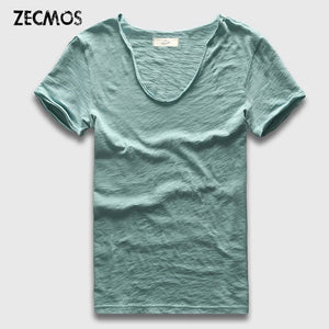 Zecmos Brand Men T-Shirt Plain Hip Hop Fashion Casual XXXL V Neck T Shirt Swag For Men Short Sleeve