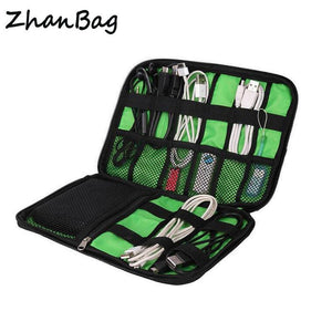 ZhanBag High Grade Nylon Waterproof Travel Electronics Accessories Organiser Bag Case for Chargers