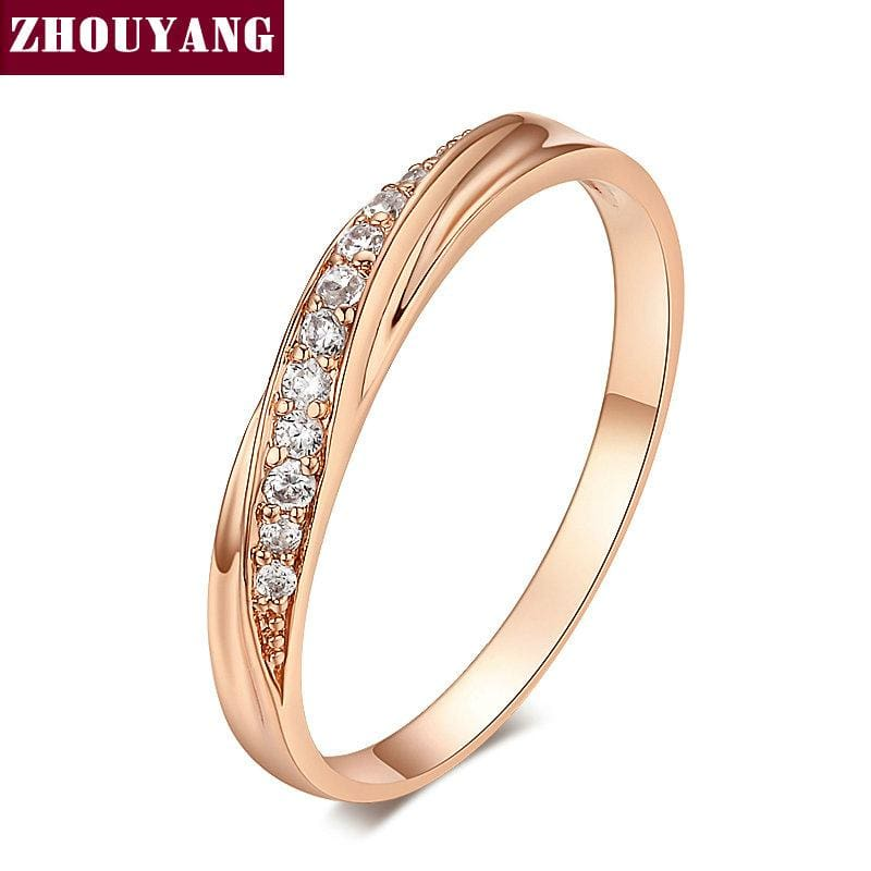 ZHOUYANG Top Quality Simple Cubic Zirconia Lovers Rose Gold Color Wedding Ring Jewelry Full Sizes