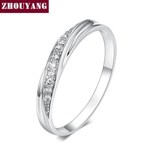 ZHOUYANG Top Quality Simple Cubic Zirconia Lovers Rose Gold Color Wedding Ring Jewelry Full Sizes 10 / WhiteGold