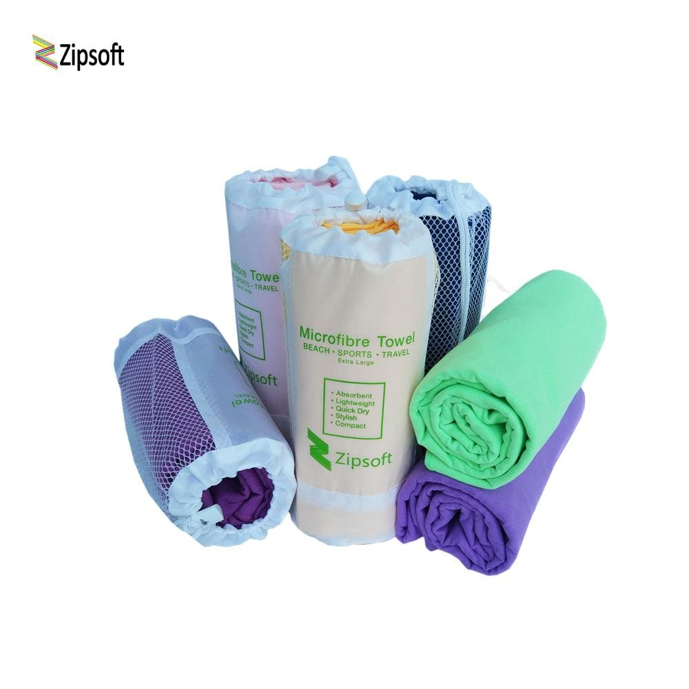 Zipsoft Beach Towel Wraps Microfiber 2017 Brand Mesh Bag Fabric Sports Quick Dry Bath Travel Hike