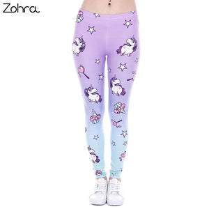 Zohra Brand New Fashion Women Leggings Unicorn And Sweets Printing leggins Fitness legging Sexy High