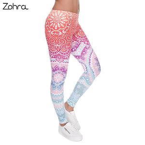 Zohra Brands Women Fashion Legging Aztec Round Ombre Printing leggins Slim High Waist Leggings