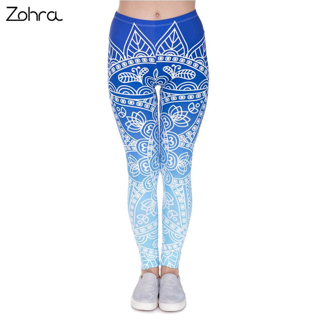 Zohra High Quality Women Legins Mandala Ombre Blue Printing Legging Fashion Casual High Waist Woman - MBMCITY