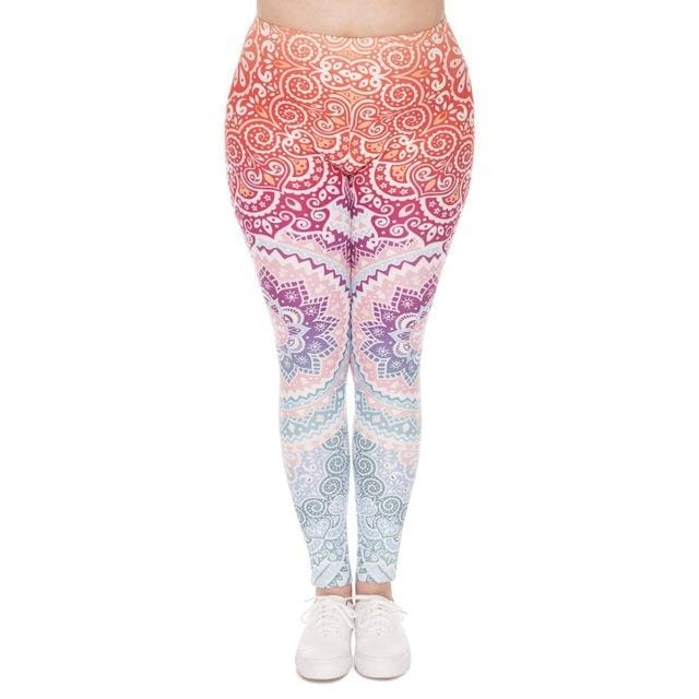 Zohra Plus Size Women Leggings Aztec Round Ombre Printing Stretch High Waist  Large Size Trousers