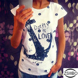 Zsiibo Summer T Shirt Women Bat Sleeves Tshirts Boat Anchor Printing T-Shirt Female Top Tee Plus