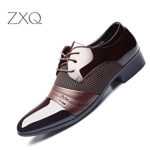 ZXQ Men Dress Shoes Plus Size 38-47 Men Business Flat Shoes Black Brown Breathable Low Top Men