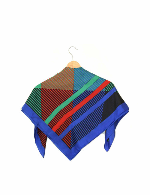 Retro Geometric Silk Scarf