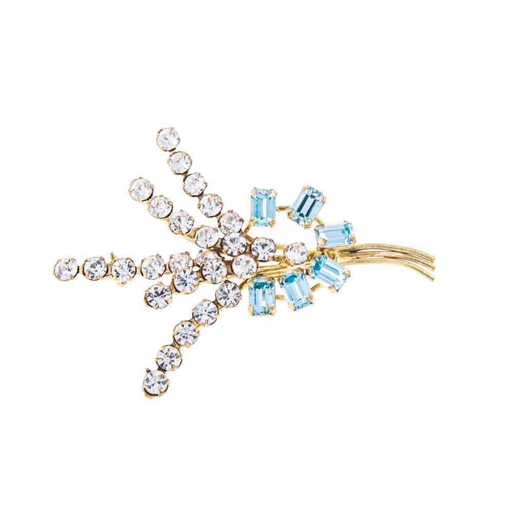3db3994bfae An 'Art Deco' Style Small Clear and Light Blue Vintage Rhinestone 1950s  Brooch