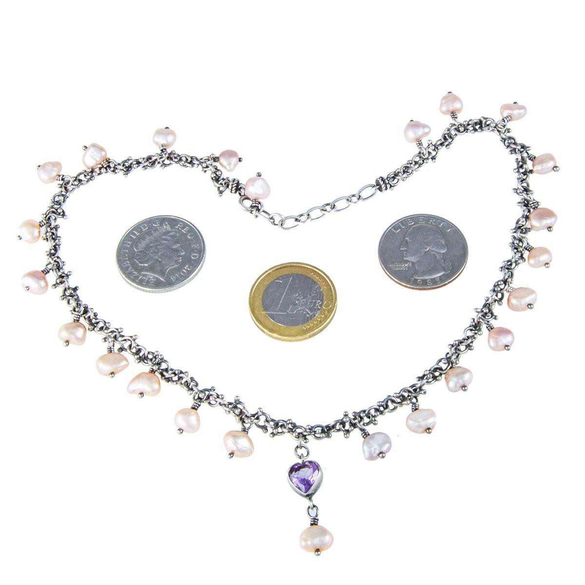 chain gifts off pendant purple heart from in collares women pendants silver for amethyst necklaces stone item rhinestone bijoux uloveido necklace colar color mujer fashion