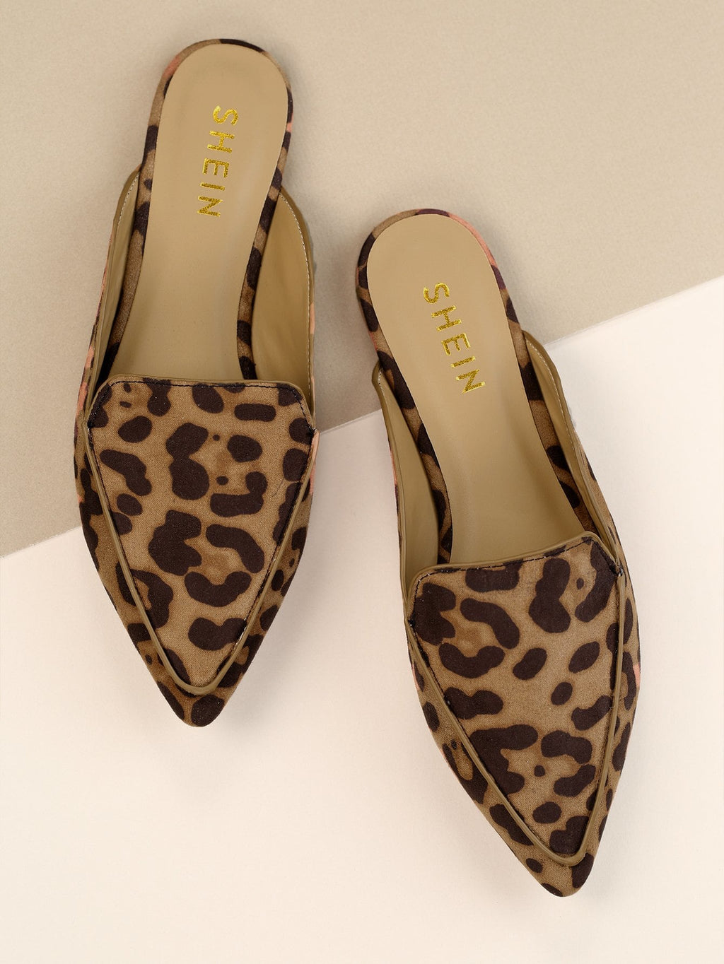 Spitz Zehe Loafer Mules mit Leopard Muster