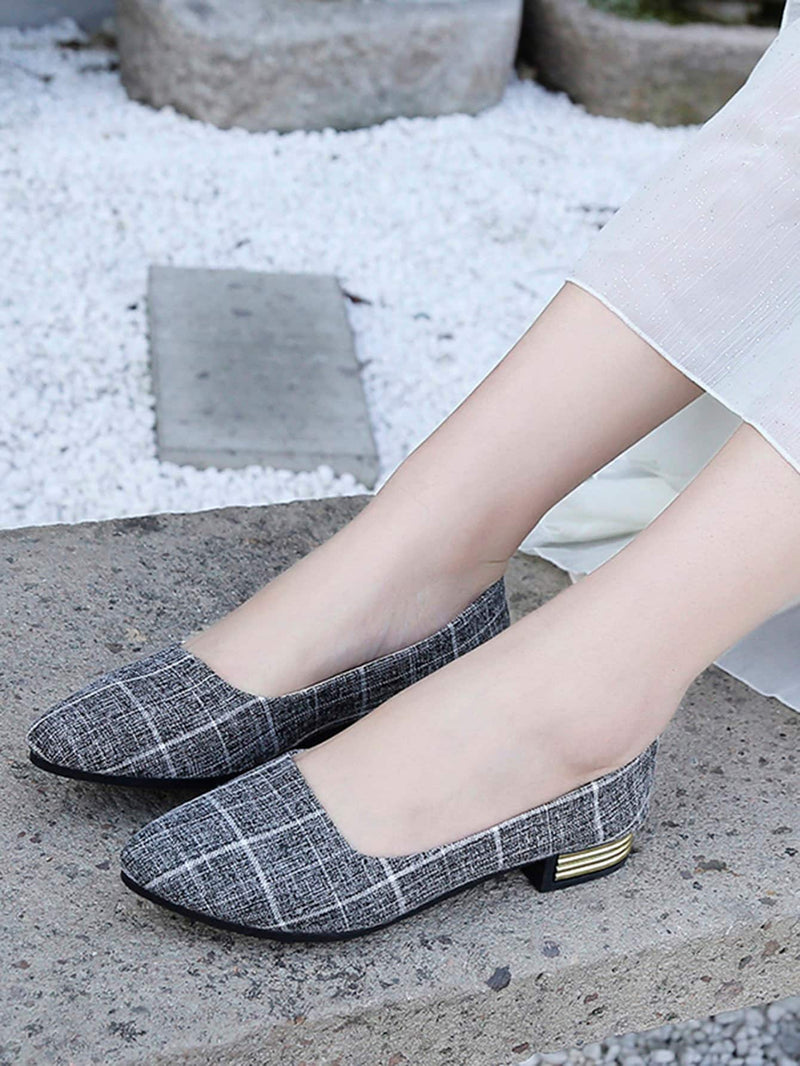 Plaid Detail Ballerinas