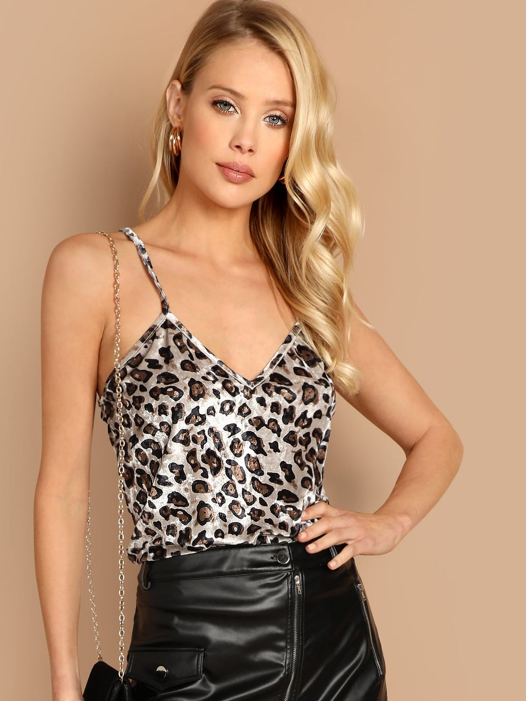Samt Camisole mit Leopard Muster Top