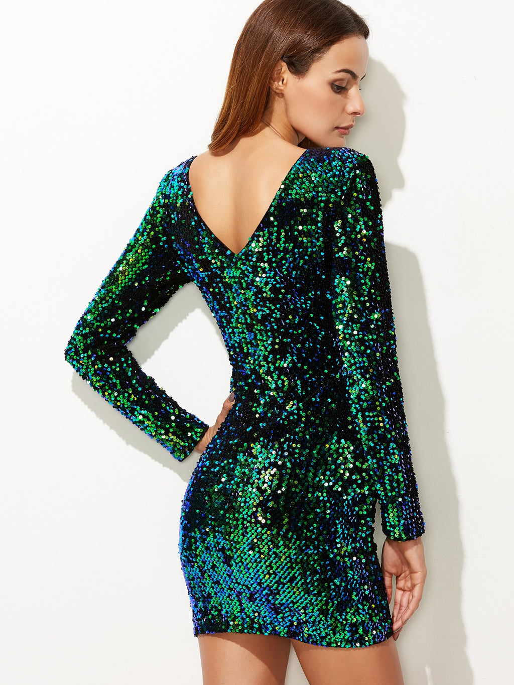 Paillette Bodycon Kleid langarm -grün