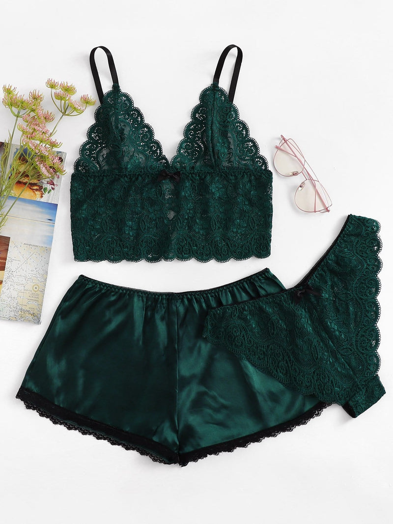 Überbackene Trim Cami Top & Shorts & Panty 3pcs