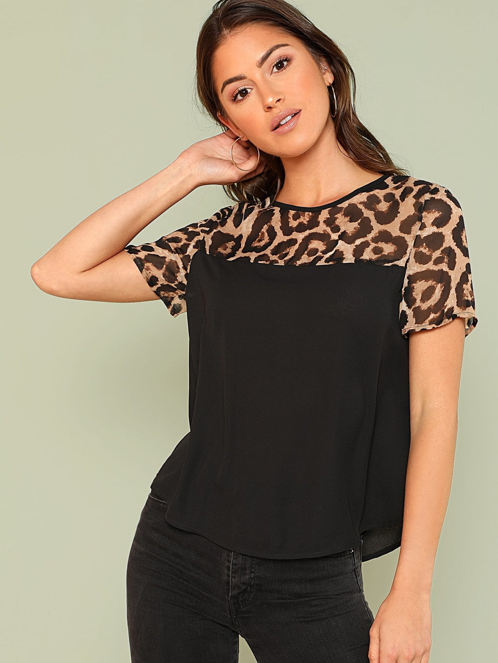 Bluse mit Leomuster Top