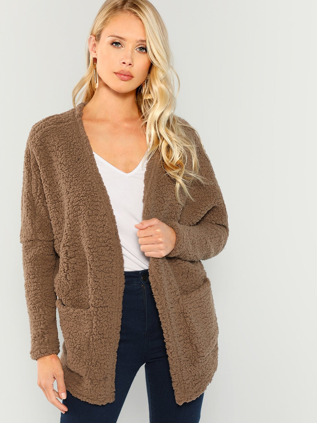 Teddy Kunstpelz Open Front Coat