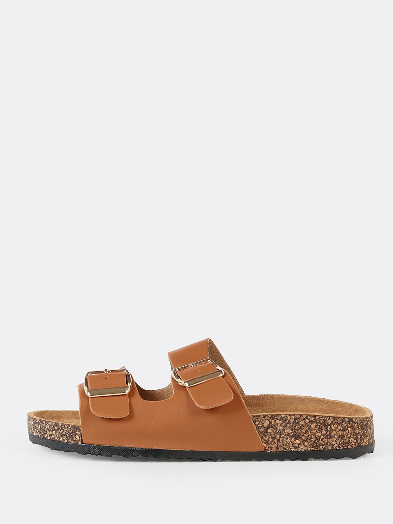 Double Buckle Cork Footbed Slide Sandal TAN