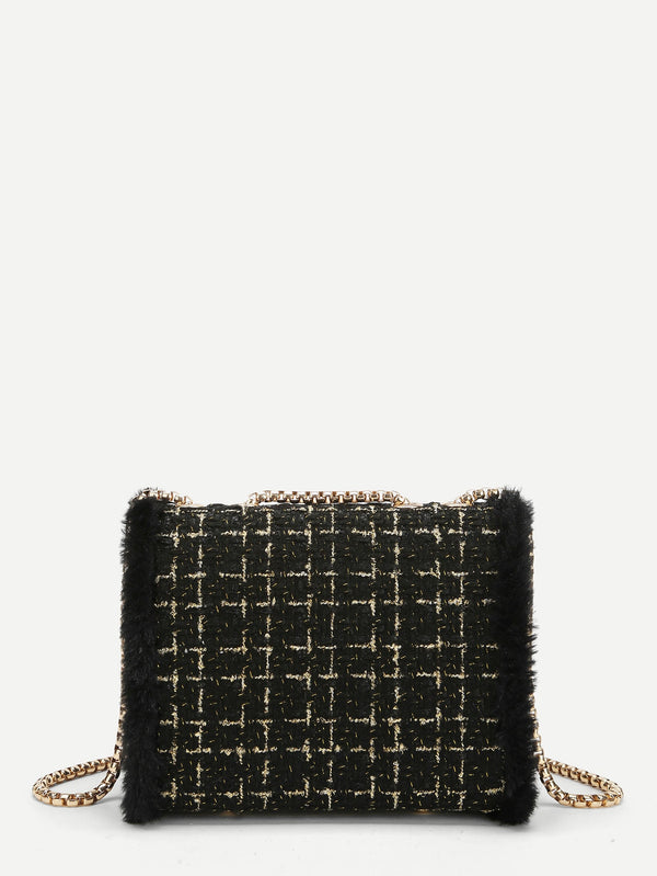 Faux Fur Decor Kette Crossbody Tasche