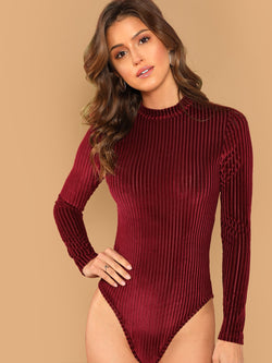 Mock-Neck Cord Bodysuit