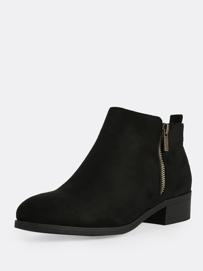 Faux Suede Round Toe Zip Up Boots BLACK