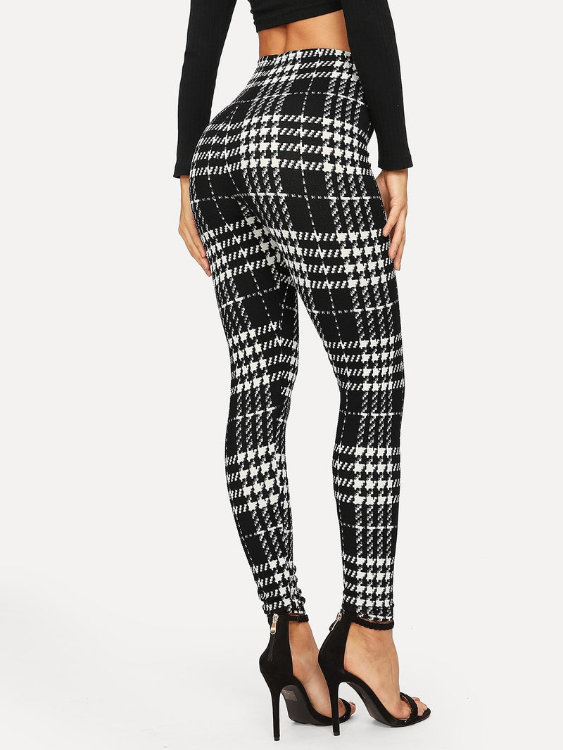 Schmale Leggings mit Plaid Muster